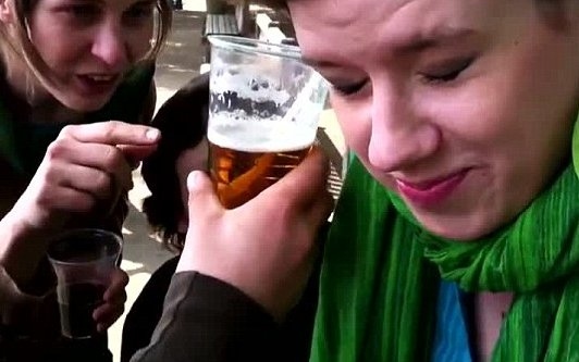 Student Downs Pint Through The Ear (Video)