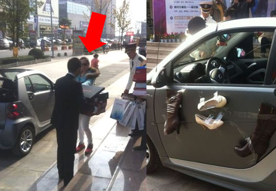 Chinese Woman Buys Too Many Shoes – Tapes Them To Her Car