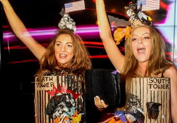 Students enter fancy-dress contest dressed as Twin Towers