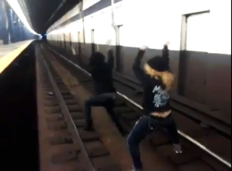 Dumb Women Twerk On Subway Tracks