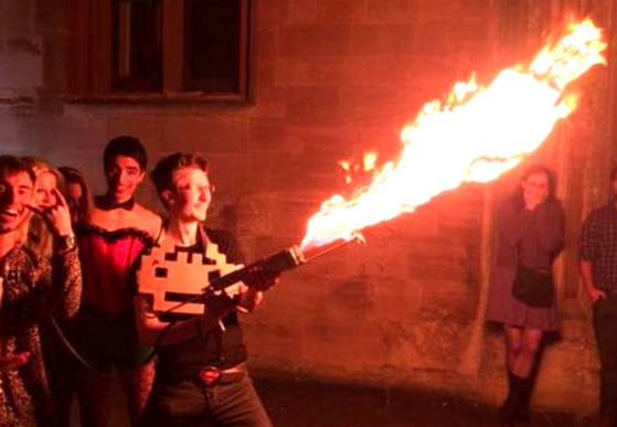 Oxford Student Brings Flamethrower To Party