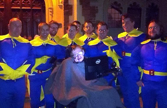 Stephen Hawking Poses With A Gang Of Superheroes