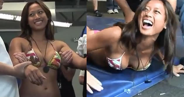 Tasered For Charity: Woman In Bikini Gets Tasered in front of group of men