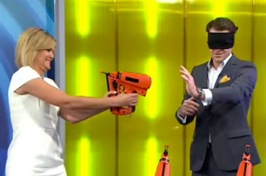 Australian TV Host Nearly Shoots Herself In The Face Live On Air