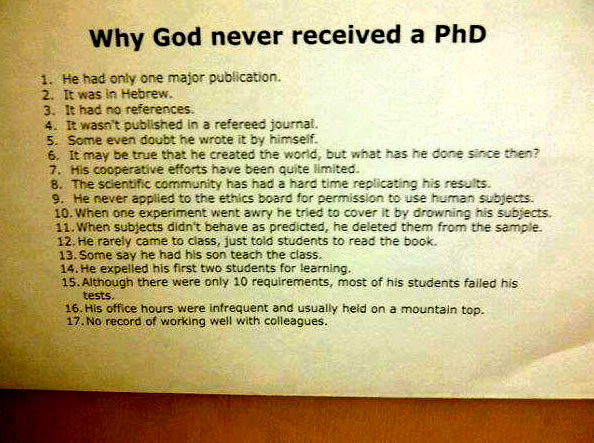 Why God Never Received A PhD