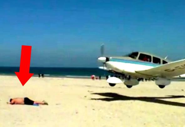 Latest Viral: The Moment A Plane Nearly Lands On A Sunbather