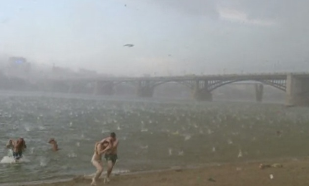 Sudden Freak Hailstorm Hits Russian Beach