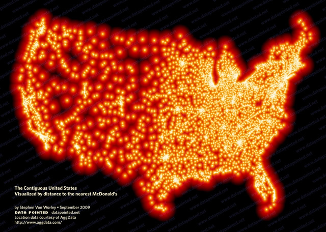 The United States Visualized By Distance To The Nearest McDonald's