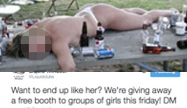 Nightclub Features drunk and naked woman in Promotion