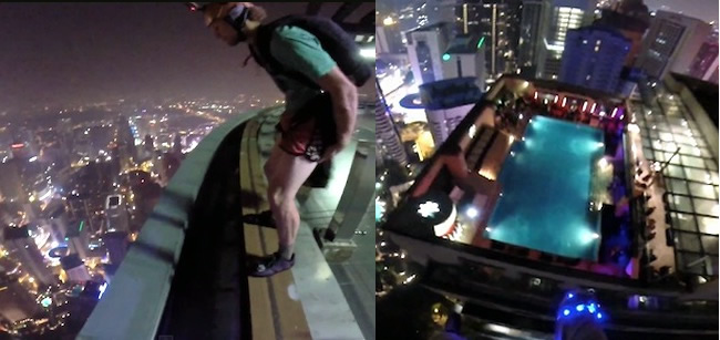 Crazy Base Jumper Crashes Hotel Pool Party In Kuala Lumpur