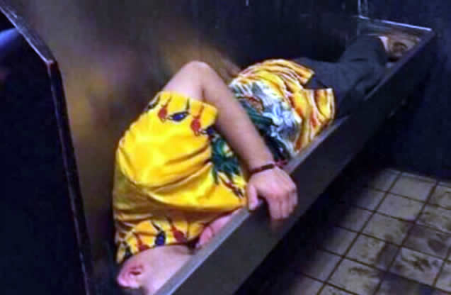 Man sleeps in urinal after night out