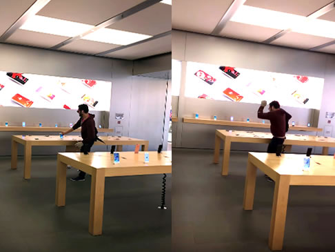 Man Walks into An Apple Store and Smashes Everything